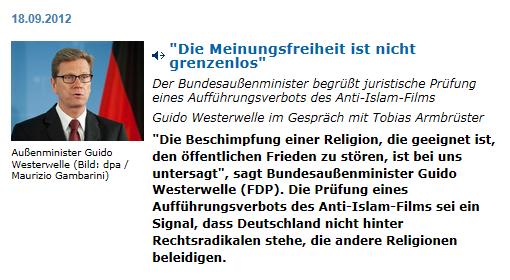 Guido Westerwelle zur Meinungsfreiheit