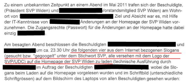 SVP-Widen-Strafbefehl