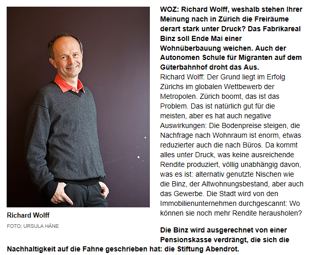 Bild: Interview mit Richard Wolff in der Linken WOZ