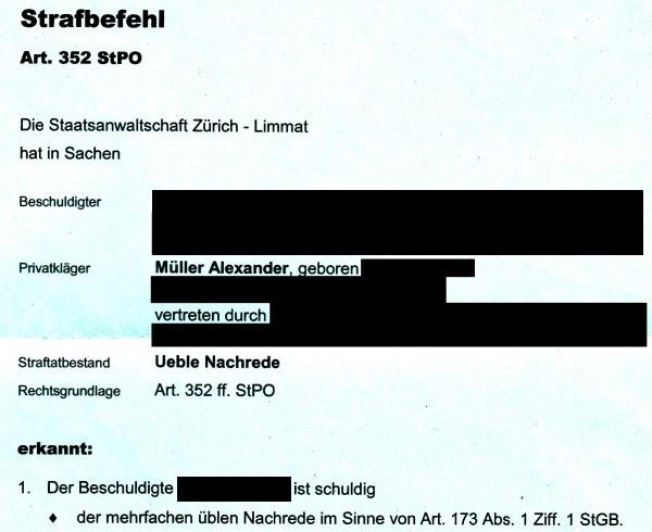 Geschäftsleitungsmitglied der Grünen Partei des Kantons Zürich rechtskräftig wegen mehrfacher übler Nachrede verurteilt