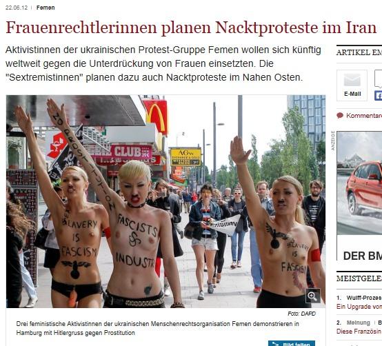 Drei Aktivistinnen der Menschenrechtsorganisation Femen demonstrieren in Hamburg mit Hitlergruss gegen Prostitution.