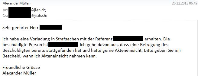 1. Email an Staatsanwaltschaft Zürich-Limmat