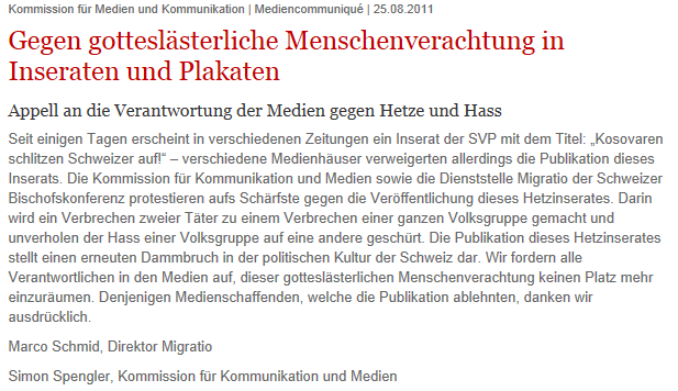 Communiqué der Schweizer Bischofskonferenz