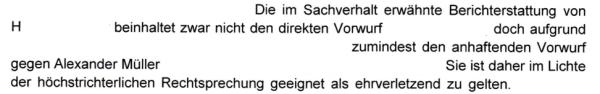 Luzerner Staatsanwaltschaft erkennt ehrverletzende Wirkung im höchstrichterlichen Sinne.