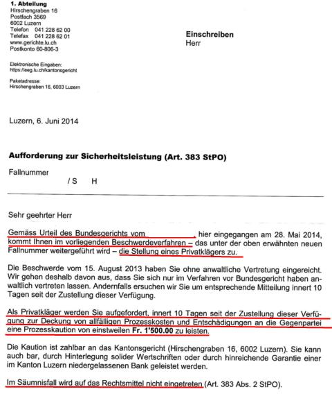 Brief von Kantonsgericht Luzern an den Privatkläger