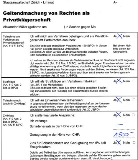 Formular der STAZL für die Geltendmachung der Rechte als Privatkläger