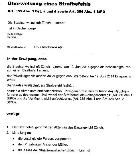 STAZL-Desaster: Verfügung der Staatsanwaltschaft Zürich-Limmat vom 27. Juni 2014