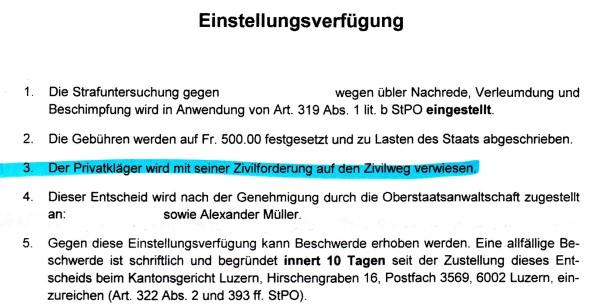 Angefochtene Einstellungsverfügung Staatsanwaltschaft Luzern