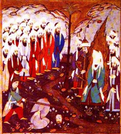 Enthauptung eines Mannes vor dem Propheten Mohammed