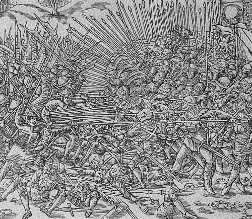 Opferbereitschaft! Winkelried schafft für seine Kameraden in der feindlichen Phalanx eine Gasse.