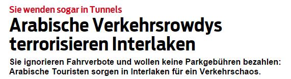 Blick-Schlagzeile über die Zustände in Interlaken