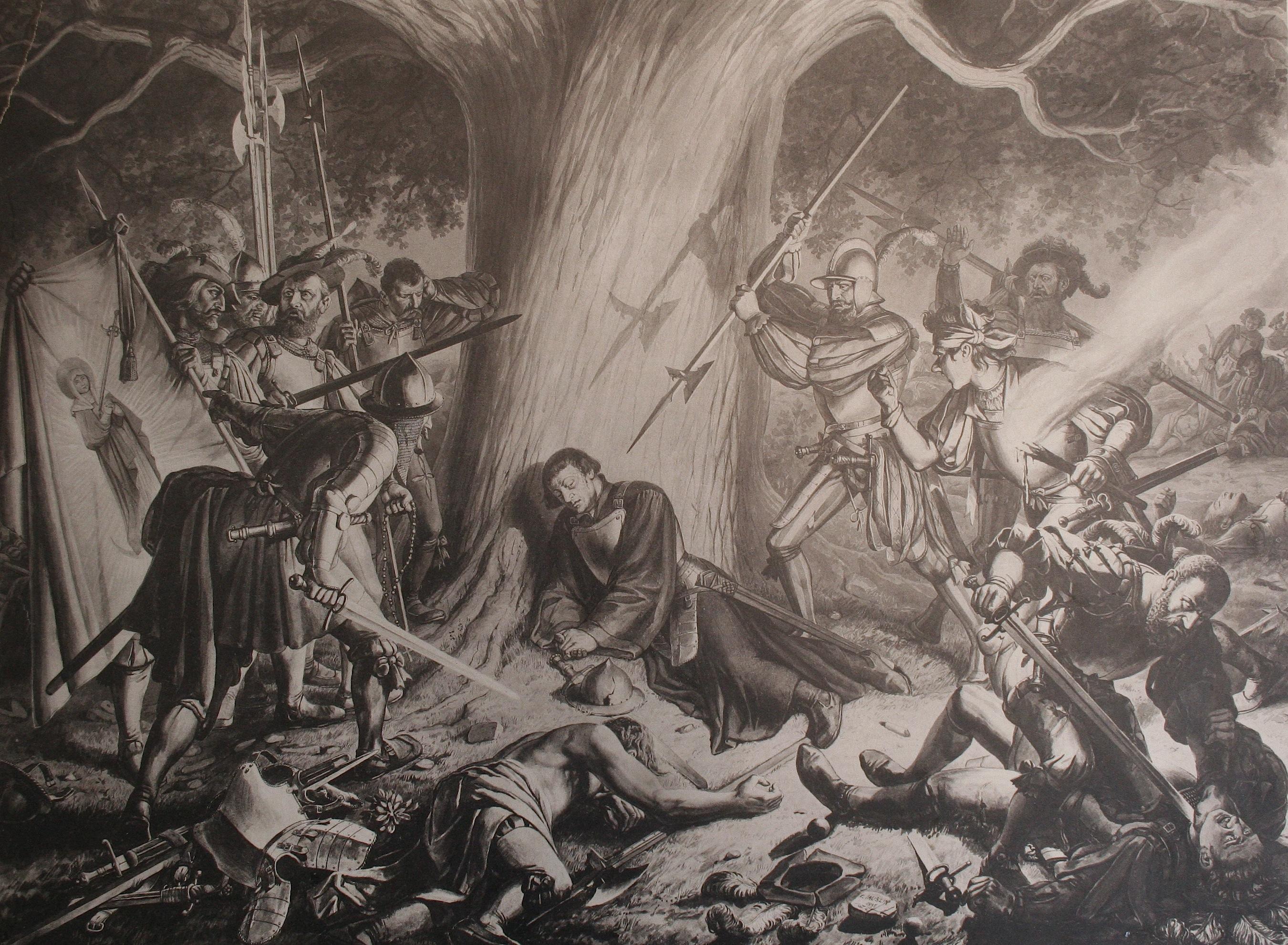 Reformator Ulrich Zwingli wird von Katholiken ermordet