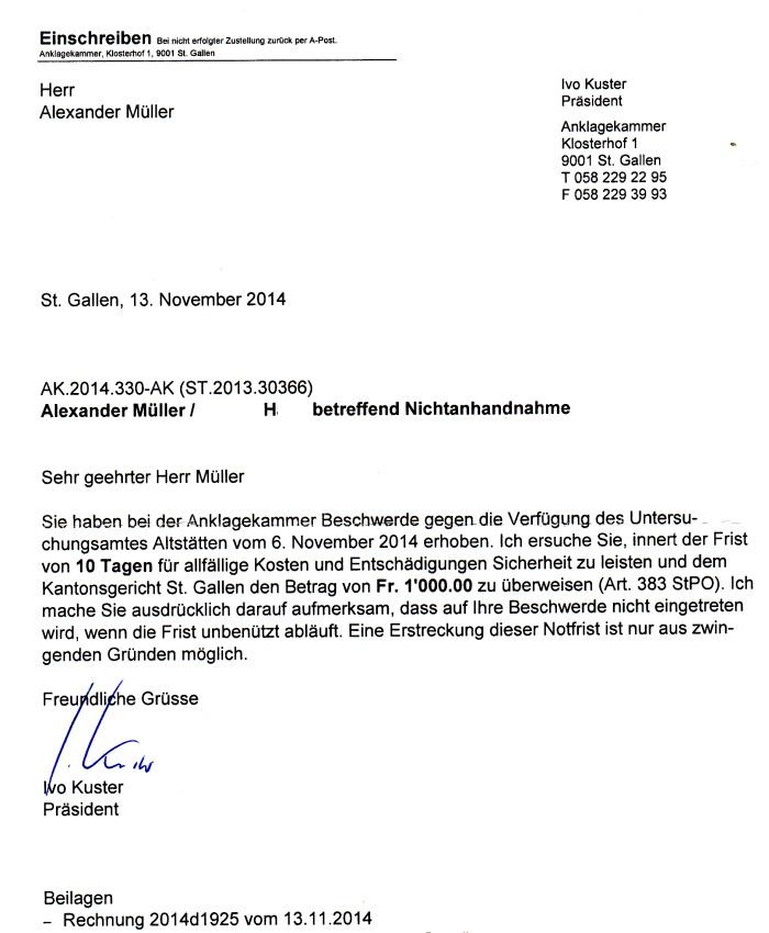 Justiz kassiert Schweizer Privatkläger ab