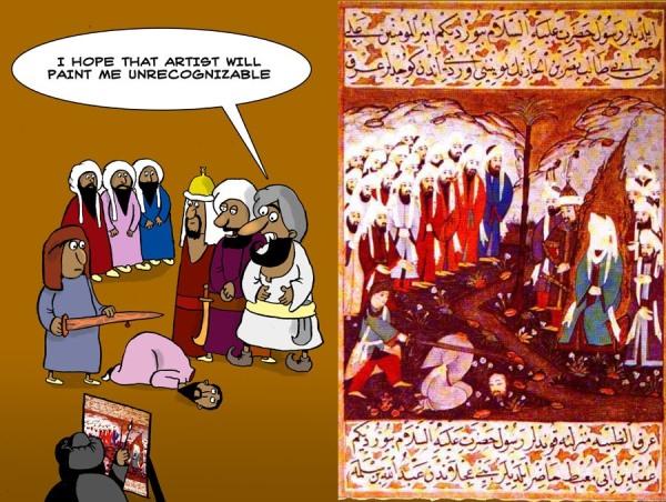Darstellung von Mohammed bei der Teilnahme an einer wahrscheinlich von ihm in Auftrag gegebenen Enthauptung.