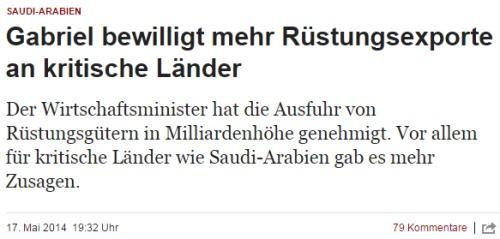 Der deutsche Sozialist Sigmar Gabriel bewilligt Waffenlieferungen an Saudi-Arabien