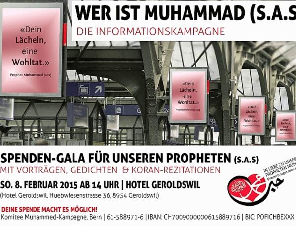 So soll an Schweizer Bahnhöfen für das Image von Mohammed geworben werben