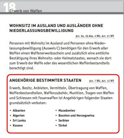 Rassistisches Schweizer Waffengesetz?