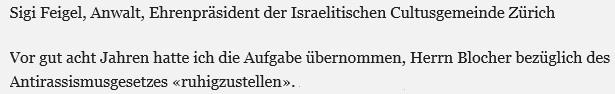 Sigi-Feigel, einer der Urheber des Antirassismusgesetzes in der Schweiz