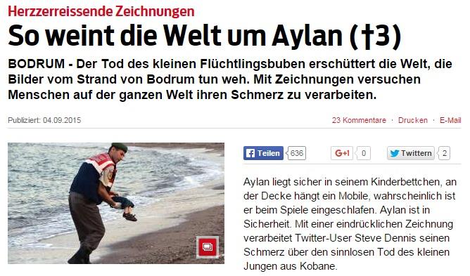 Tränendrüsen-Artikel der Boulevard-Zeitung Blick v. 4.9.2015