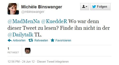 Michèle Binswanger fragt nach der mir vorgeworfenen Aussage, die sie nicht auf meiner Twitter-Timeline findet.