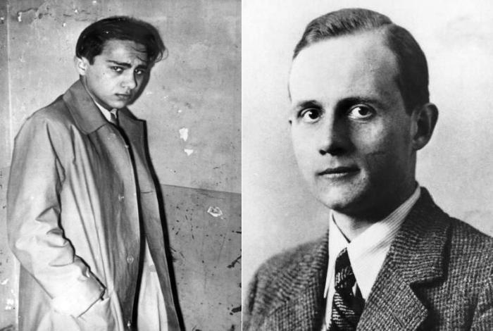 Links im Bild der Täter, der Jude Herschel Feibel Grynszpan. Rechts im Bild das Opfer, Ernst Eduard von Rath