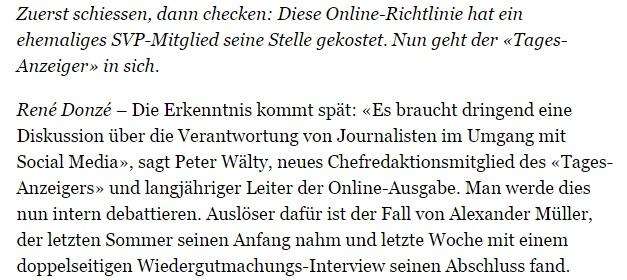 Journalistin hat zu schnell geschossen - NZZ v. 3.2.2013