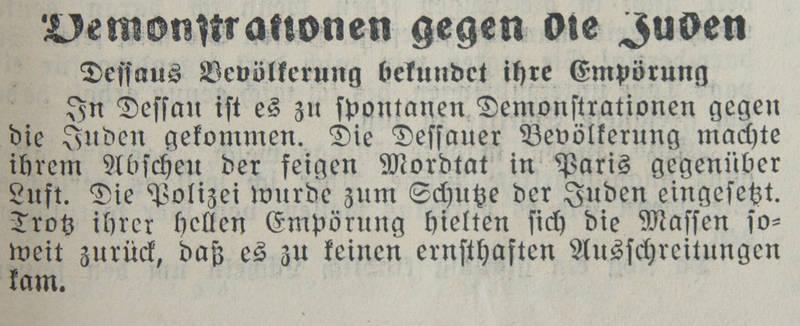 Damalige deutsche Zeitung berichtet über spontanen Shitstorm empörter Menschen.