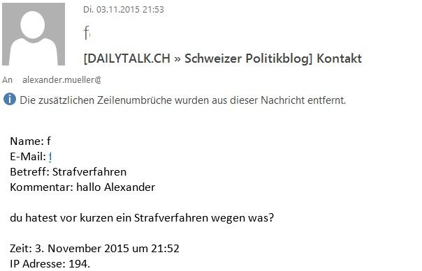 Fragt mich doch tatsächlich einer, wegen was die Schweizer Gesinnungsjustiz gegen mich vorgeht. Lach!