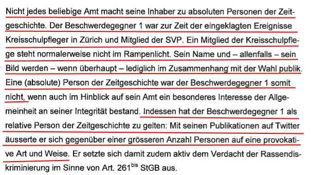 Aus dem Urteil des Zürcher Obergerichts in Sachen Minor und Hürlimann