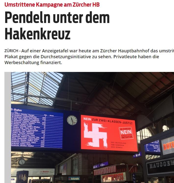 Hakenkreuz-Plakat von linken Nazikeulenschwingern