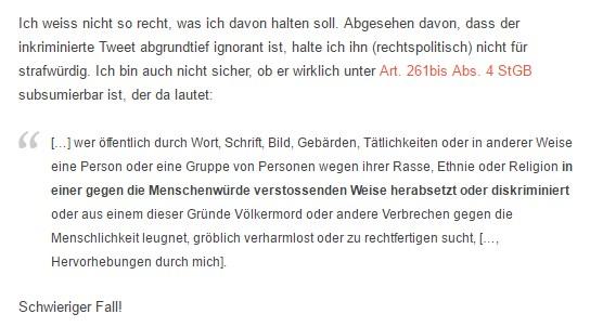 Konrad Jeker auf Strafprozess.ch über das Urteil zum Kristallnacht-Tweet