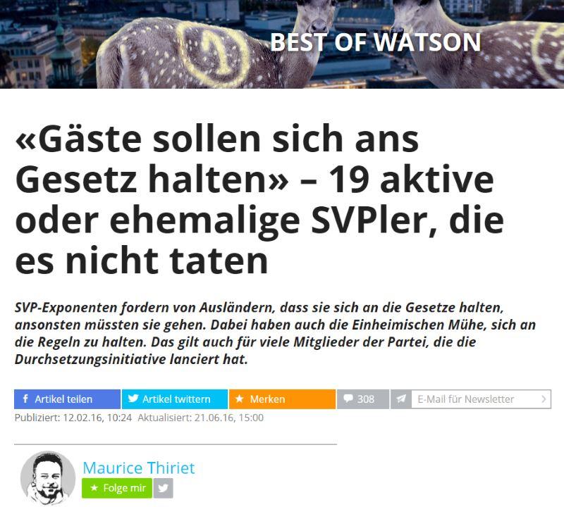 Politischer Hetzartikel von Maurice Thiriet auf Watson.ch