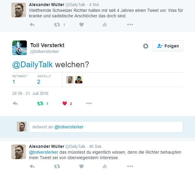 Die Leute wissen nicht einmal von welchem Tweet die Rede ist. Erstaunlich, denn laut Richtern sei der Tweet von überwiegendem öffentlichen Interesse.