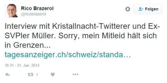 Rico Brazerol von der angeblich so hochanständigen BDP. Auch er offensichtlich voller Schadenfreude.