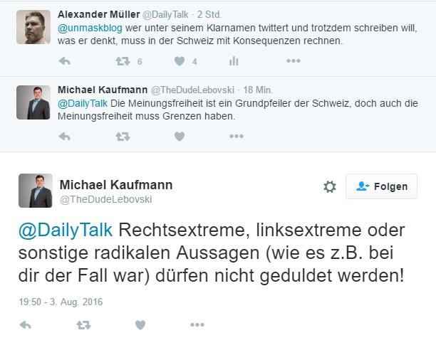 Michael Kaufmann von der CVP beantwortet einen Tweet von mir.
