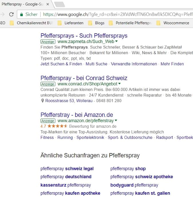 Google AdWords Werbung für Pfefferspray